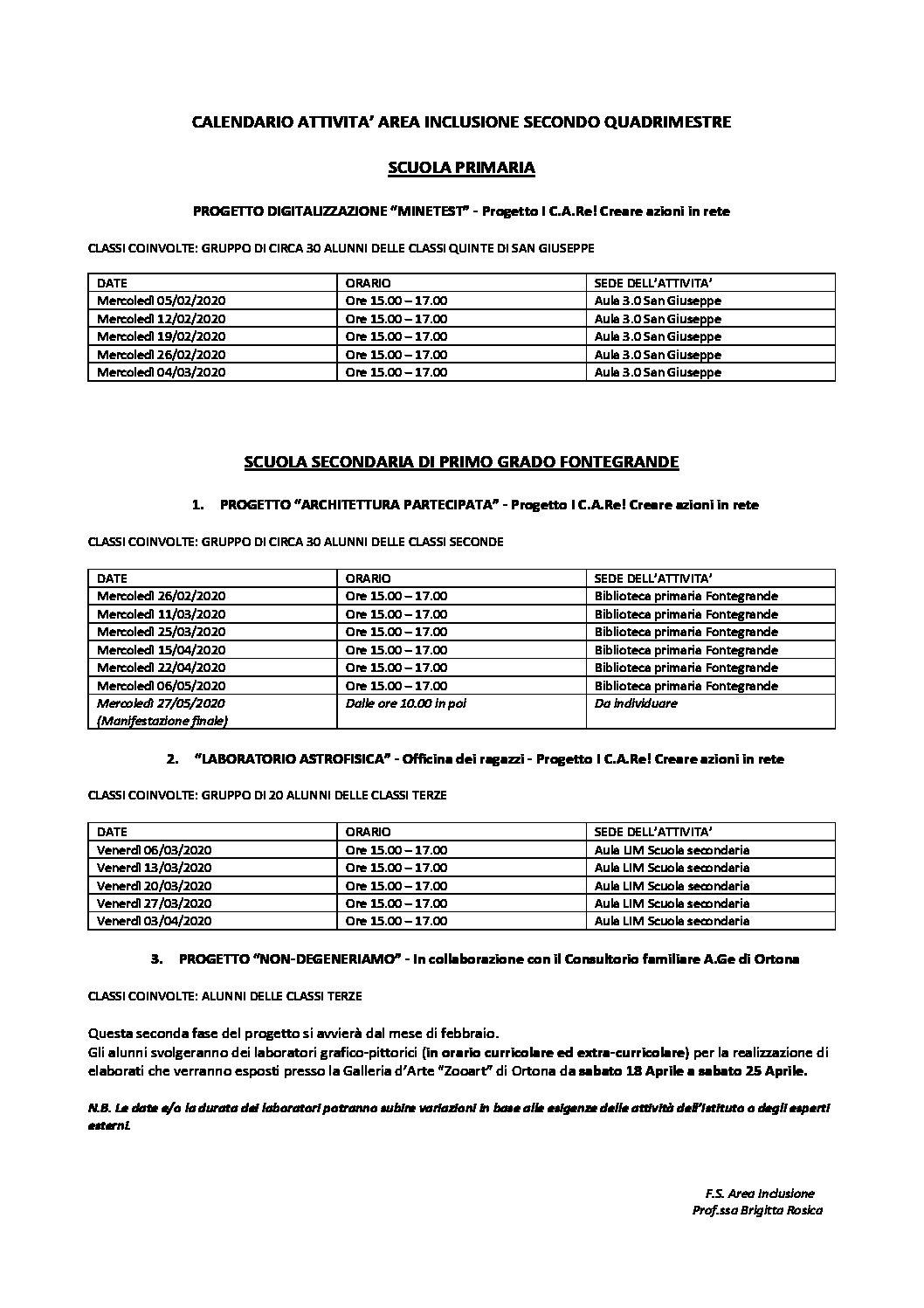 Calendario Attività Inclusione II quadrimestre