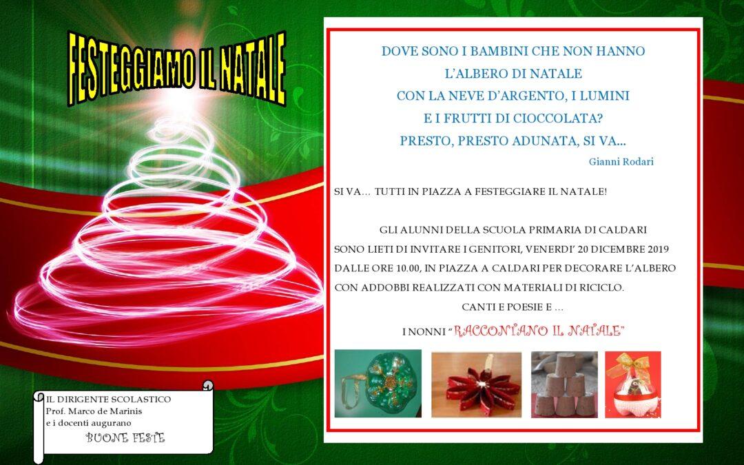 invito 20 dicembre festa di Natale scuola primaria di Caldari